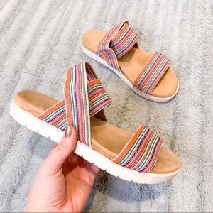 Comfortable Cushioned Elastic Striped Sandals 8